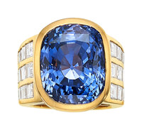 Ceylon Color-Change Sapphire, Diamond, Gold Ring, Julius Cohen