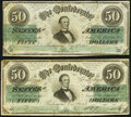 Confederate Notes:1862 Issues, T50 $50 1862 PF-13 Cr. 360 Fine;. T50 $50 1862 PF-19 Cr. 362 Very Good-Fine.. ... (Total: 2 notes)