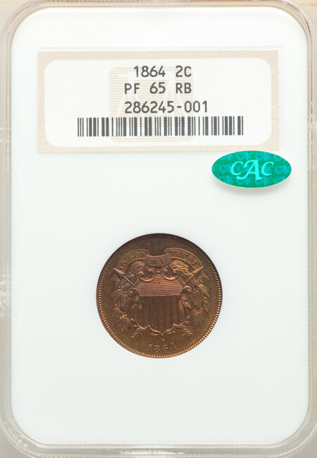 1864 Large Motto, RB CAC 65 NGC