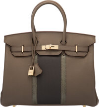 Hermès 35cm Etain & Graphite Clemence Leather & Gris Fonce Lizard Club Birkin Bag with Permabrass Hardwar...
