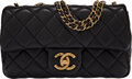 """Luxury Accessories:Bags, Chanel Black Quilted Lambskin Leather Mini Flap Bag with Aged Gold Hardware. Condition: 1. 8"""" Width x 5"""" Height x 2"""" D..."""