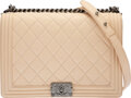 "Luxury Accessories:Bags, Chanel Beige Quilted Lambskin Leather Jumbo Boy Bag with Ruthenium Hardware . Condition: 1. 12"" Width x 8"" Height x 3""..."