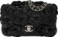 "Chanel Black Lambskin & Patent Leather Camellia Flap Bag with Silver Hardware Condition: 3 8"" Width x 4.5""..."
