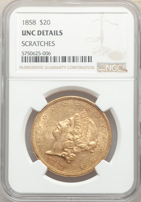 1858 $20 60 Details NGC