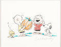 """Animation Art:Production Drawing, Peanuts Bill Melendez - Charlie Brown with Linus, Snoopy and Woodstock Signed """"Pumpkin"""" Drawing (Bill M..."""