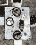 Paintings, Squeak Carnwath (b. 1947). At Table, 1985. Mixed media on paper. 69 x 58 inches (175.3 x 147.3 cm). Signed, dated, and t...