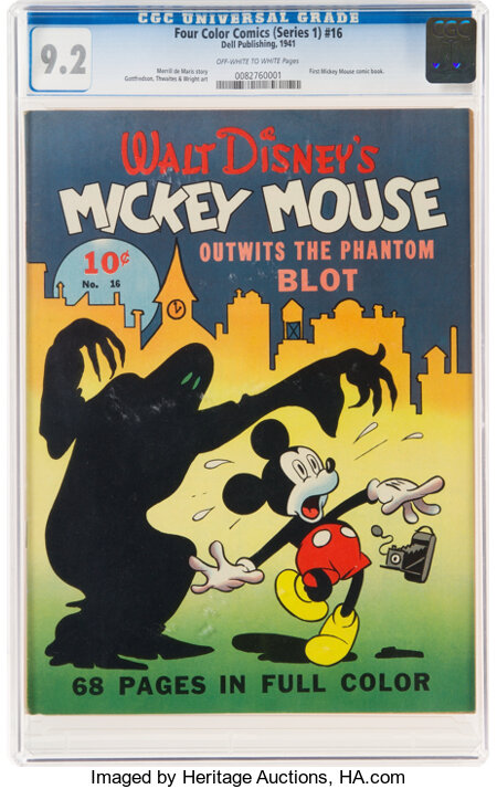 Four Color (Series One) #16 Mickey Mouse (Dell, 1941) CGC NM- 9.2 Off-white to white pages....