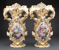 A Pair of Limoges Porcelain Vases, late 19th century 22 x 13 x 7 inches (55.9 x 33.0 x 17.8 cm) (each) on 3 inch (7.6 cm...