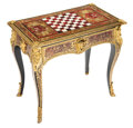 Furniture, An English Gilt Bronze Mounted Games Table, 19th century. 28 x 31-1/2 x 18-1/2 inches (71.1 x 80.0 x 47.0 cm). Property ...