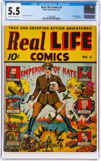 Real Life Comics #3 (Nedor Publications, 1942) CGC FN- 5.5 Off-white to white pages