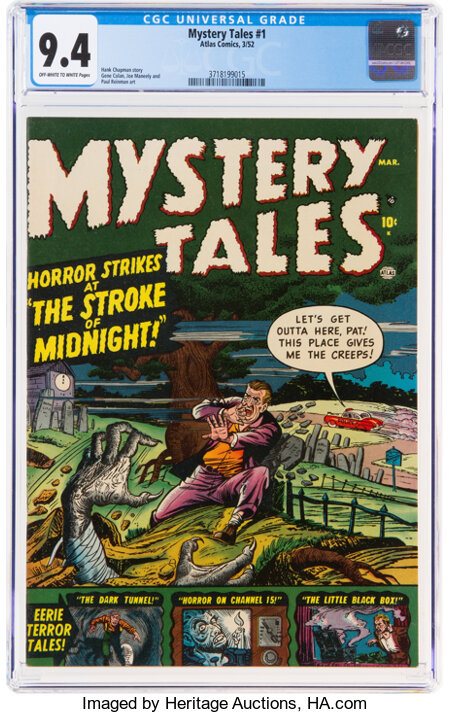 Mystery Tales #1 (Atlas, 1952) CGC NM 9.4 Off-white to white pages....