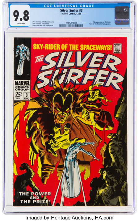 The Silver Surfer #3 (Marvel, 1968) CGC NM/MT 9.8 White pages....