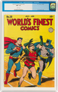 Golden Age (1938-1955):Superhero, World's Finest Comics #29 (DC, 1947) CGC NM+ 9.6 White pages....