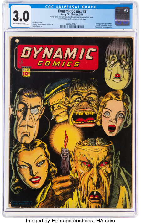 Dynamic Comics #8 (Chesler, 1944) CGC GD/VG 3.0 Off-white to white pages....