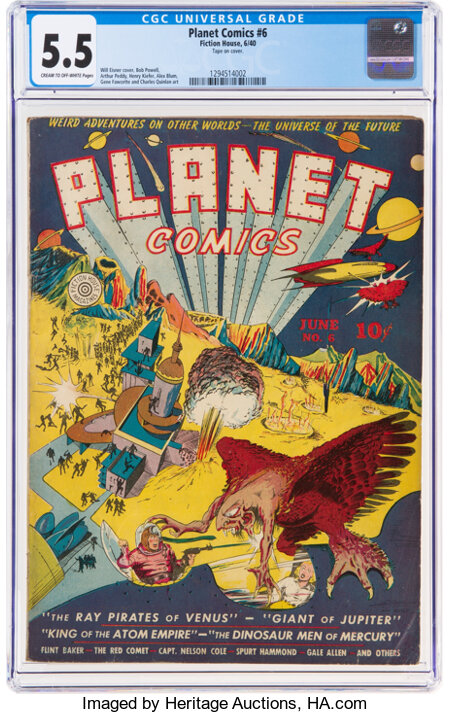 Planet Comics #6 (Fiction House, 1940) CGC FN- 5.5 Cream to off-white pages....