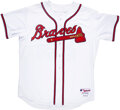 Baseball Collectibles:Uniforms, 2006 John Smoltz Signed Game Issued Jersey. Home w...