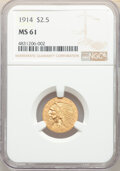 Indian Quarter Eagles: , 1914 $2 1/2 MS61 NGC. NGC Census: (1990/3678). PCGS Population: (481/2365). CDN: $500 Whsle. Bid for NGC/PCGS MS61. Mintage...