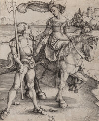 Albrecht Dürer (German, 1471-1528) Lady on Horseback and the Lansquenet, circa 1497 Engraving on lai