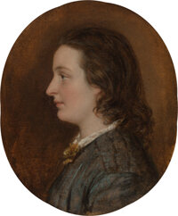 British School (19th Century) Young girl in blue dress Oil on paper laid on canvas 8-1/4 x 6-3/4 inches (21.0 x 17.1