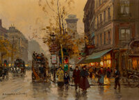 Edouard-Léon Cortes (French, 1882-1969) Boulevard Saint-Denis, 1953 Oil on canvas 18 x 13 inches (45.7 x 33.0 cm)...