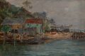 Paintings, Reynolds Beal (American, 1867-1951). Deserted Shipyard, Port Jefferson, May 1898 and New York Harbor, 1910 (two work... (Total: 2 Items)