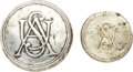 """Military & Patriotic:Revolutionary War, Revolutionary War: Pair of Entwined """"USA"""" Infantry Buttons.. ... (Total: 2 Items)"""