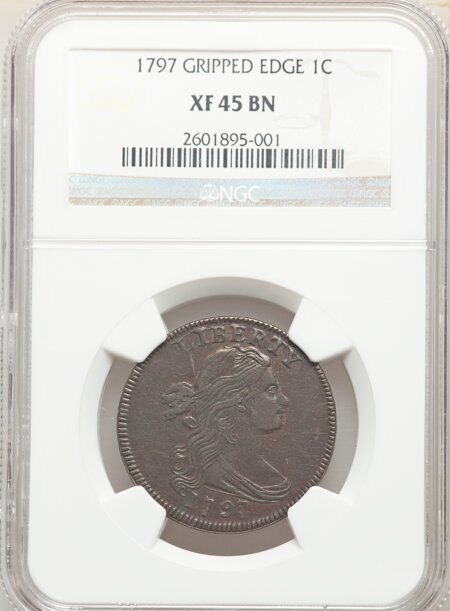 1797 1C Rev of '95, Gripped Edge, BN, MS 45 NGC
