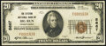 National Bank Notes:Pennsylvania, Big Run, PA - $20 1929 Ty. 1 The Citizens National Bank Ch. # 5667 Very Fine.. ...