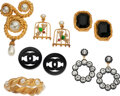 Luxury Accessories:Accessories, Chanel Set of Six: Earrings, Bangle, and Brooch