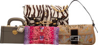 Prada, Fendi, and Jimmy Choo Set of Four: Cosmetic Train Case, Pouch, and Shoulder Bags Condition: 3