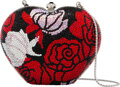 """Luxury Accessories:Bags, Judith Leiber Full Bead Red & Black Crystal Roses Minaudière . Condition: 1. 5"""" Width x 3.5"""" Height x 2.5"""" Depth. ..."""