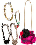 Luxury Accessories:Accessories, Lanvin Set of Five: Pink Fabric Crossbody Bag and Necklace...