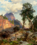 Paintings, Thomas Moran (American, 1837-1926). Mountain Lion in Grand Canyon (Lair of the Mountain Lion), 1914. Oil on canvas. 30 x...