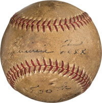 1940 Jimmie Foxx 500th Career Home Run Baseball, Signed and Notated in Foxx's Hand!