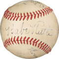 Baseball Collectibles:Balls, 1944 Connie Mack Day Multi-Signed Baseball with Ruth, Wagner, Johnson from the George Sisler Family....