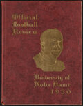 """Football Collectibles:Publications, 1930 Notre Dame """"Official Football Review,"""" Last Season For Knute Rockne...."""
