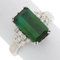 Tourmaline, Diamond, White Gold Ring
