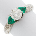 Estate Jewelry:Rings, Diamond, Emerald, White Gold Ring The ring fea...