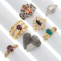 Estate Jewelry:Rings, Diamond, Colored Diamond, Multi-Stone, Gold Rings. ... (Total: 7 Items)