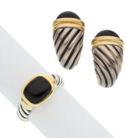 Black Onyx, Gold, Sterling Silver Jewelry Suite, David Yurman