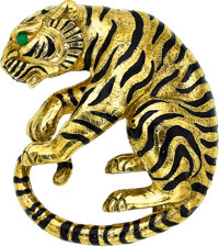 Emerald, Enamel, Gold Brooch, David Webb