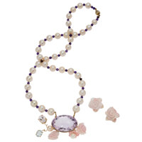 Multi-Stone, Freshwater Cultured Pearl, Gold Jewelry Suite