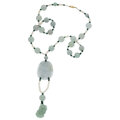 Jadeite Jade, Agate, Freshwater Cultured Pearl, Gold Necklace