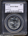 Kennedy Half Dollars: , 1992-D 50C MS68 PCGS. Potent luster brightens this ...