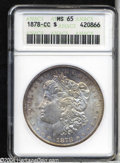 1878-CC $1 MS65 ANACS. Nicely toned in light rose and mauve tones, some tiny abrasions are noted on the obverse, but the...