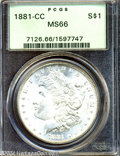1881-CC $1 MS66 PCGS. A bold and complete strike, a near-absence of marks, and ample luster makes this Carson City issue...