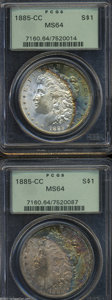 1885-CC $1 MS64 PCGS, crescents of multicolored toning along the right obverse border complement orange coloration on th...