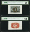 Fractional Currency:Second Issue, Fr. 1314SP 50¢ Second Issue Wide Margin Pair PMG Choice Uncirculated 64.. ... (Total: 2 notes)