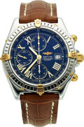 Timepieces:Wristwatch, Breitling, Crosswind Chronograph, Stainless Steel and 18k Gold, Circa 1996. ...