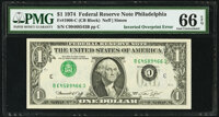 Inverted Third Printing Type 1 Error Fr. 1908-C $1 1974 Federal Reserve Note. PMG Gem Uncirculated 66 EPQ